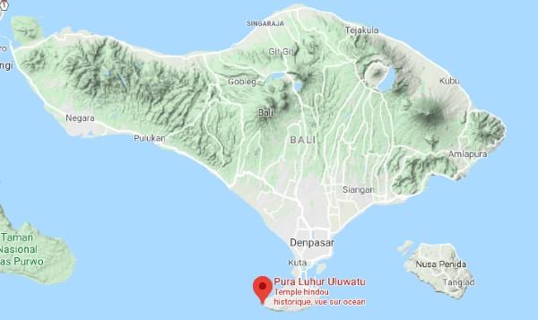 Situation d'Uluwatu sur une carte de Bali