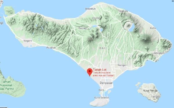 Situation de Tanah Lot sur une carte de Bali