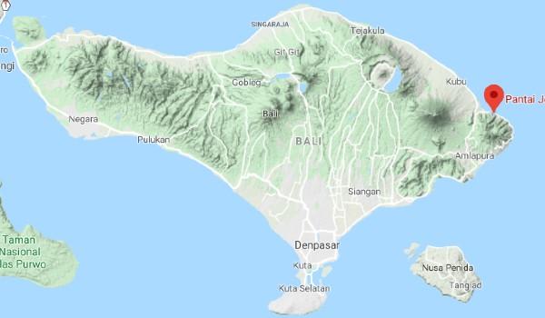 Situation de Amed sur une carte de Bali