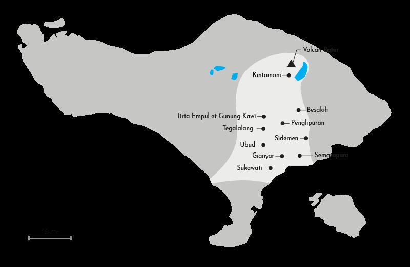Carte du coeur culturel de Bali au centre de l'île