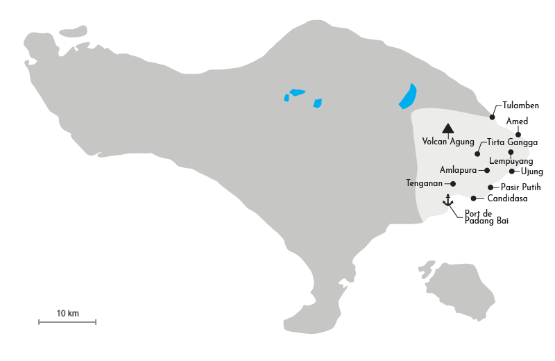 Carte de la région Est de Bali