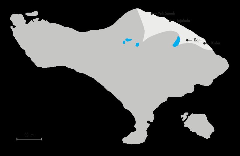 Carte de la région Nord de Bali