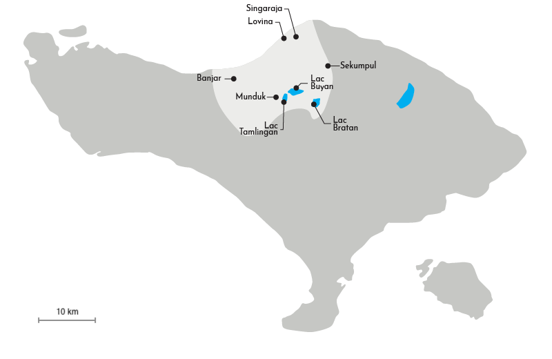 Carte de la région des lacs au Nord de Bali