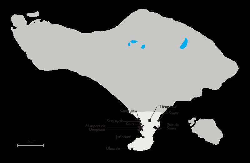 Carte de la région Sud de Bali