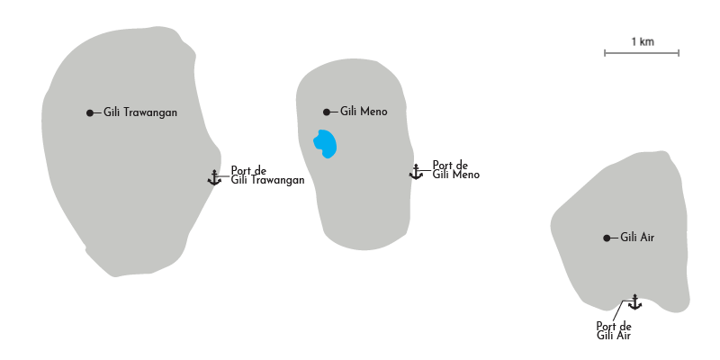 Carte des iles Gili du nord ouest