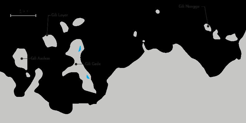 Carte des iles Gili du sud ouest