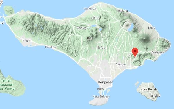 Situation de Sidemen sur une carte de Bali