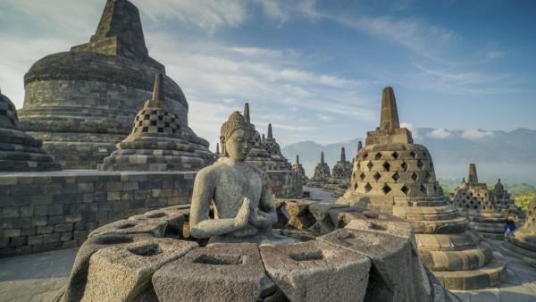 Le temple de Borobudur, à Yogyakarta