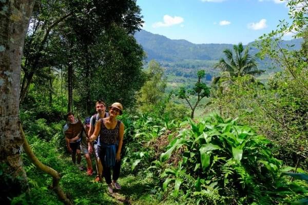 Des randonneurs en vallée de Sidemen, à Bali