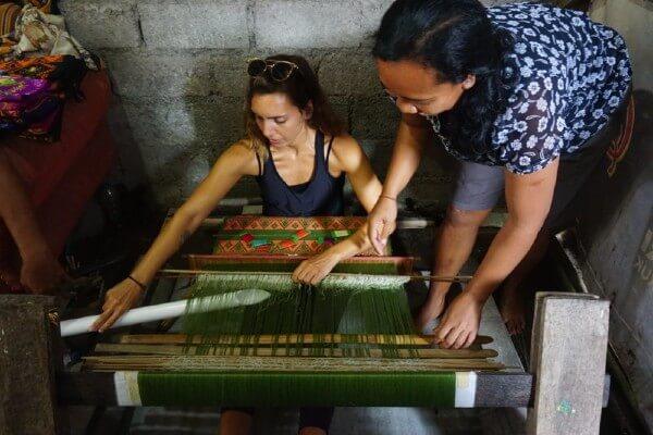 Un métier à tisser à Sidemen, à Bali