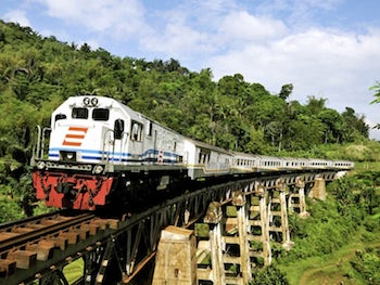 Un train indonésien sur un pont entouré de jungle